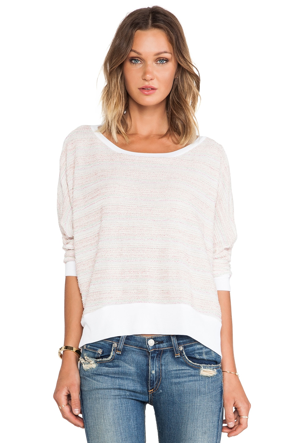 Michael Lauren Fred Long Sleeve Cape Sweater in Candy Stripe