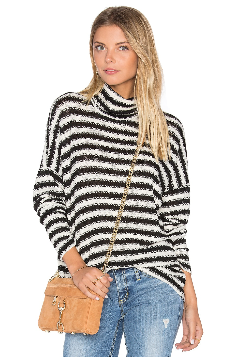 Michael Lauren Marshall Striped Turtleneck in Creme & Black