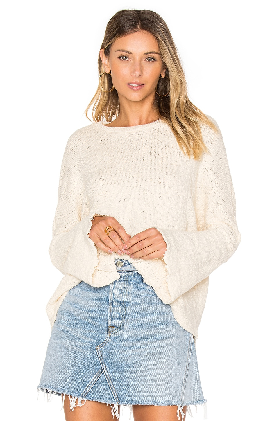 Michael Lauren Palmer Bell Sleeve Sweater in Creme