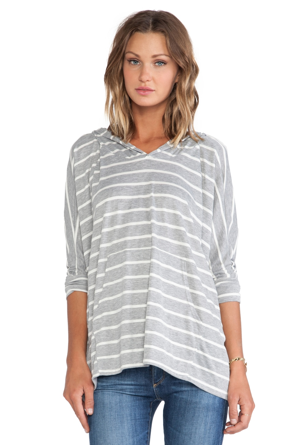 Michael Lauren Carter Oversized Pullover in Grey/White Stripe