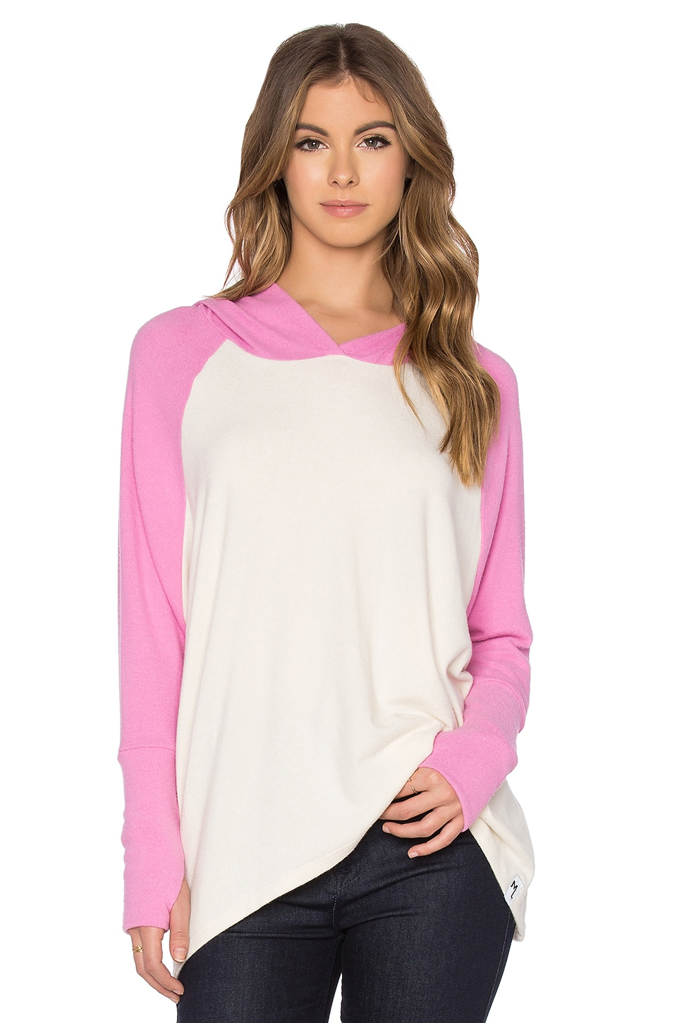 Michael Lauren Ivo Oversized Raglan Hooded Pullover in Silk & Pink Shortcake