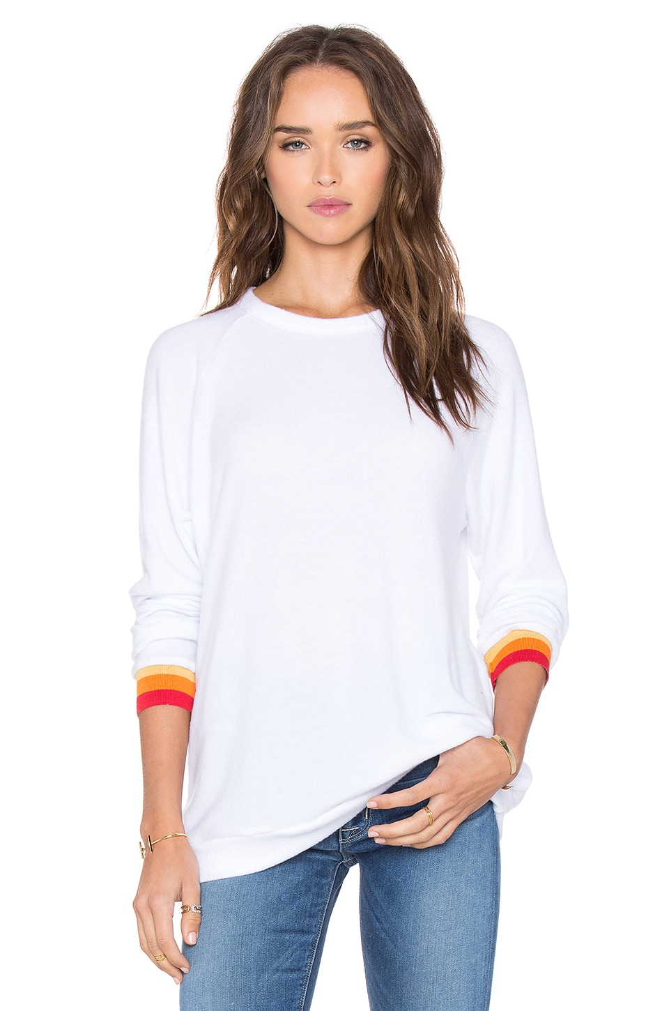 Michael Lauren Saxon Stripe Cuff Pullover in White & Stripe