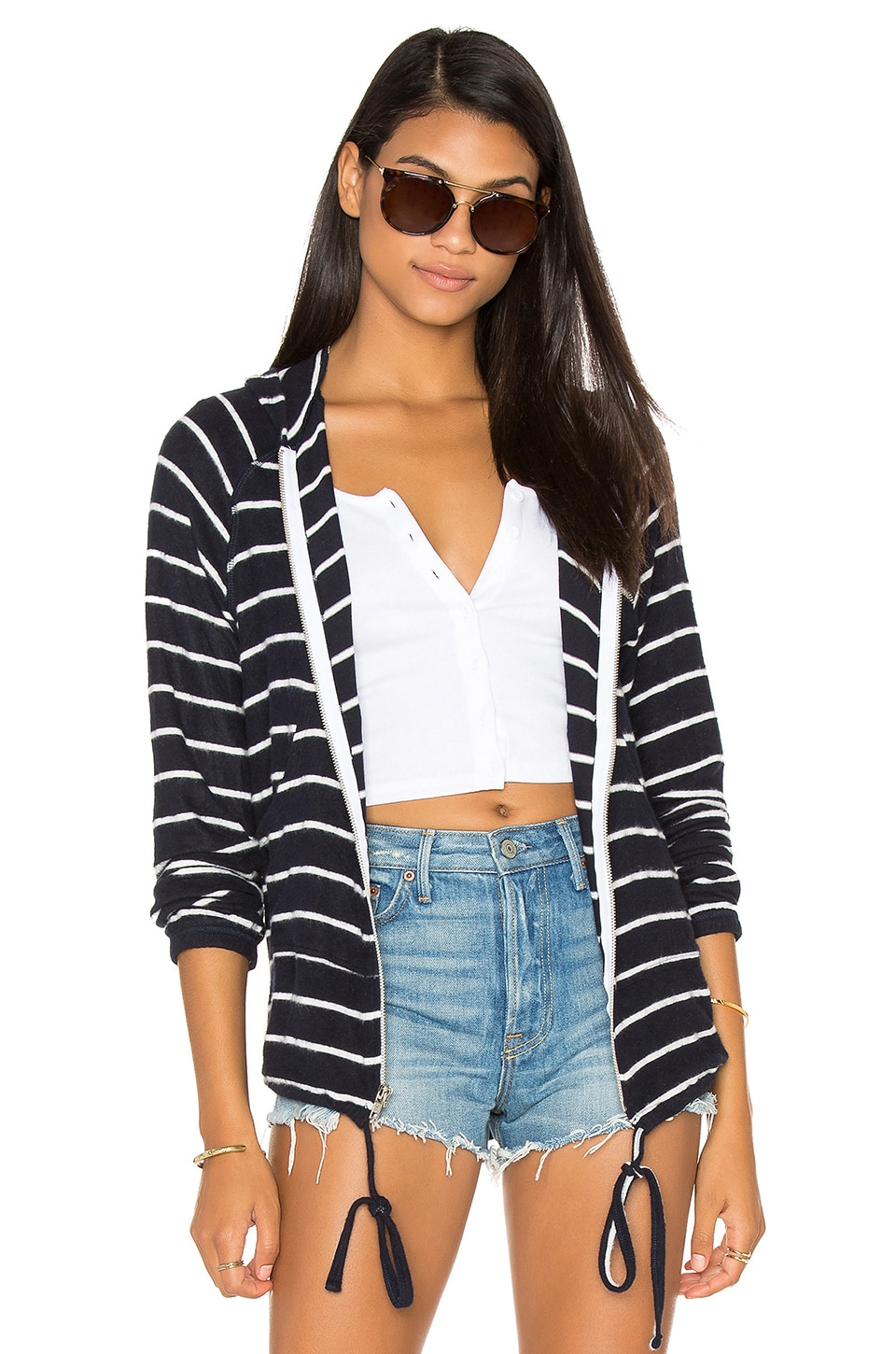 Michael Lauren Zayne Zip Up Hoodie in Navy Stripe