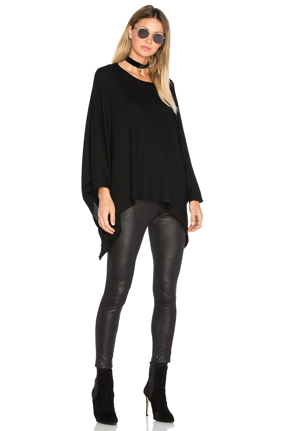 Michael Lauren Orrick Cape in Black Waffle