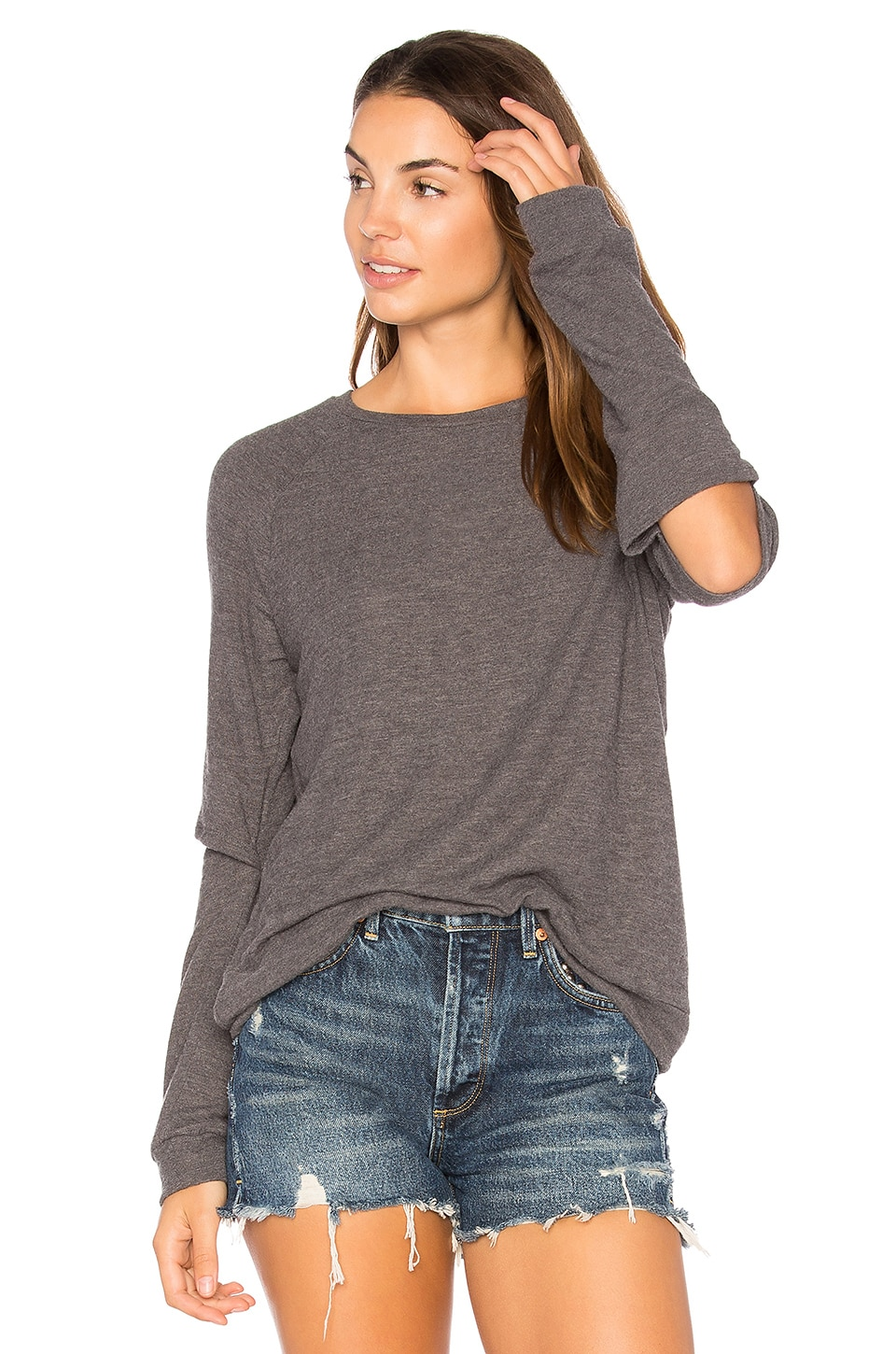 Michael Lauren Briggs Slit Sweatshirt in Charcoal
