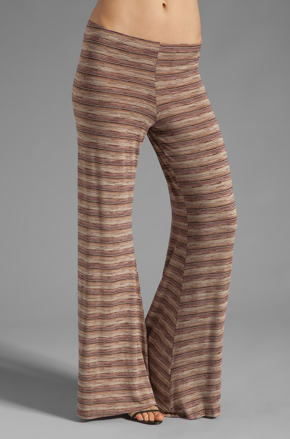Michael Lauren Derby Wide Leg Pant in Berry Toffee