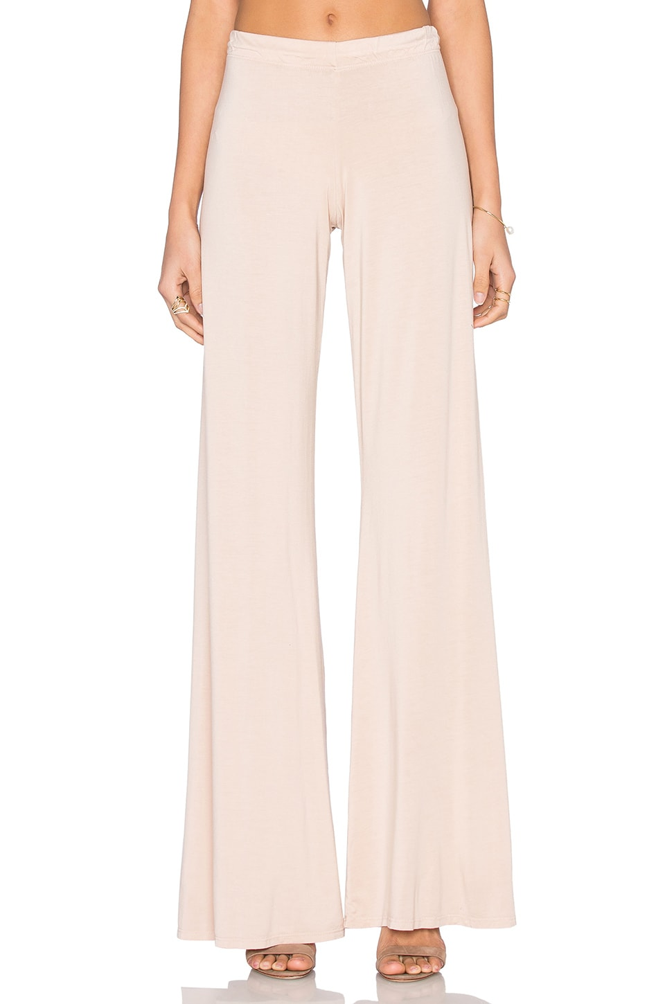 Michael Lauren Derby Wide Leg Pant in Champagne
