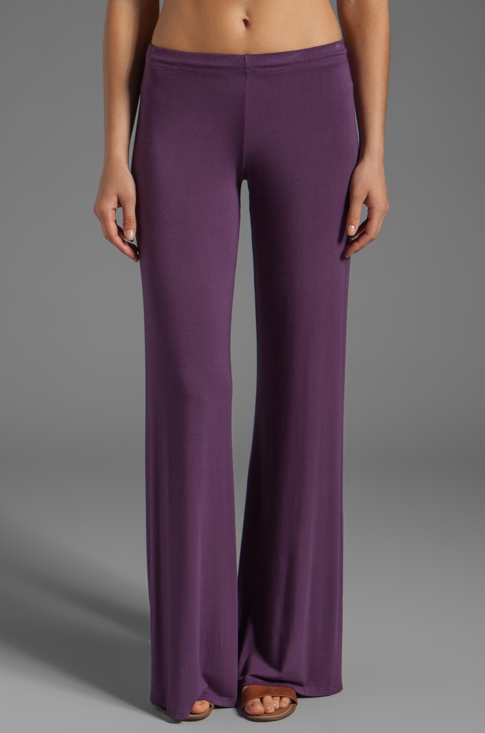 Michael Lauren Derby Wide Leg Pant in Grape