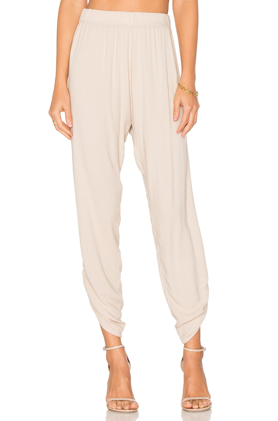 Michael Lauren Pablo Shirred Jogger in Oatmeal