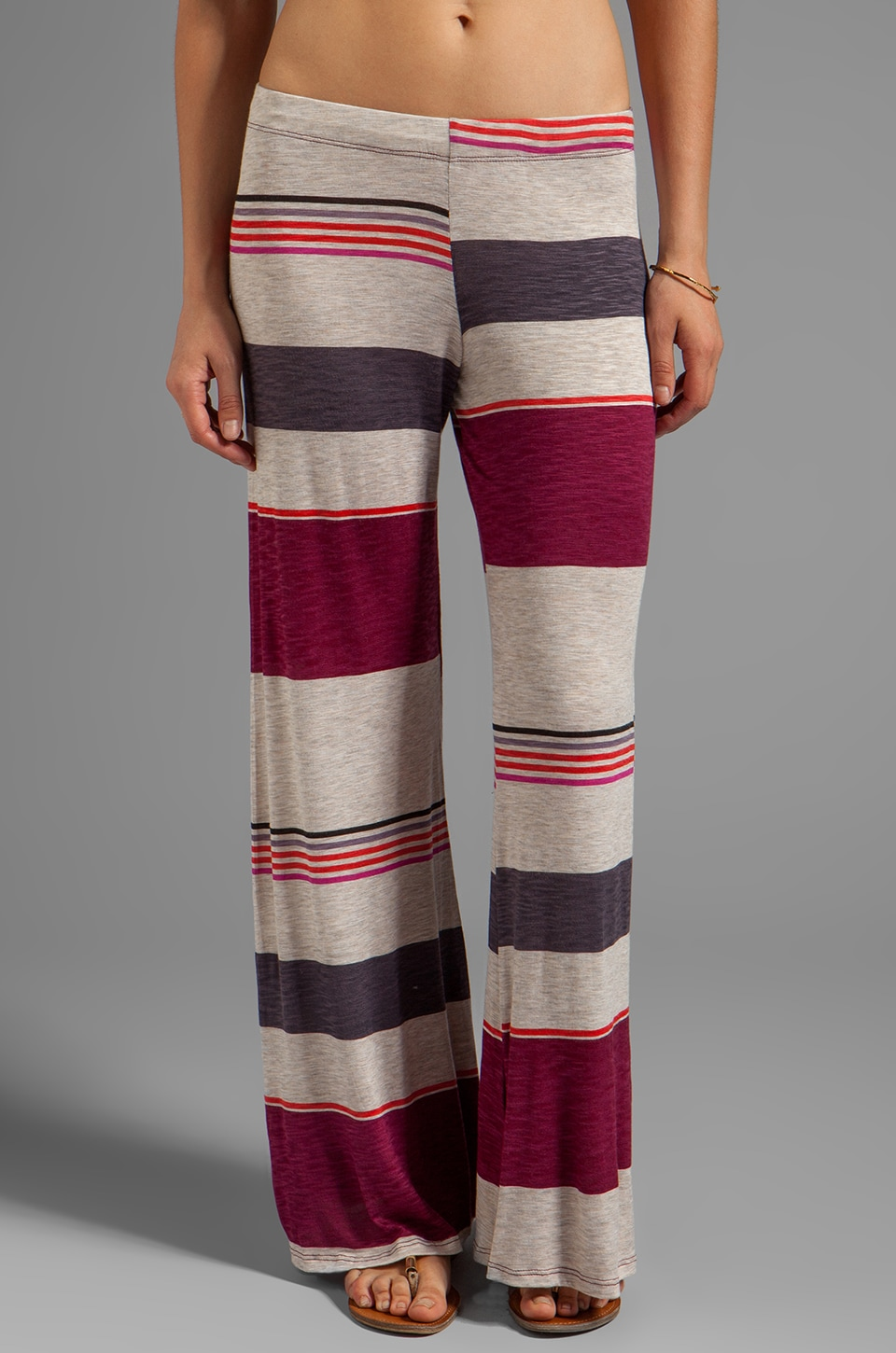 Michael Lauren Derby Wide Leg Pant in Desert Plum Stripe
