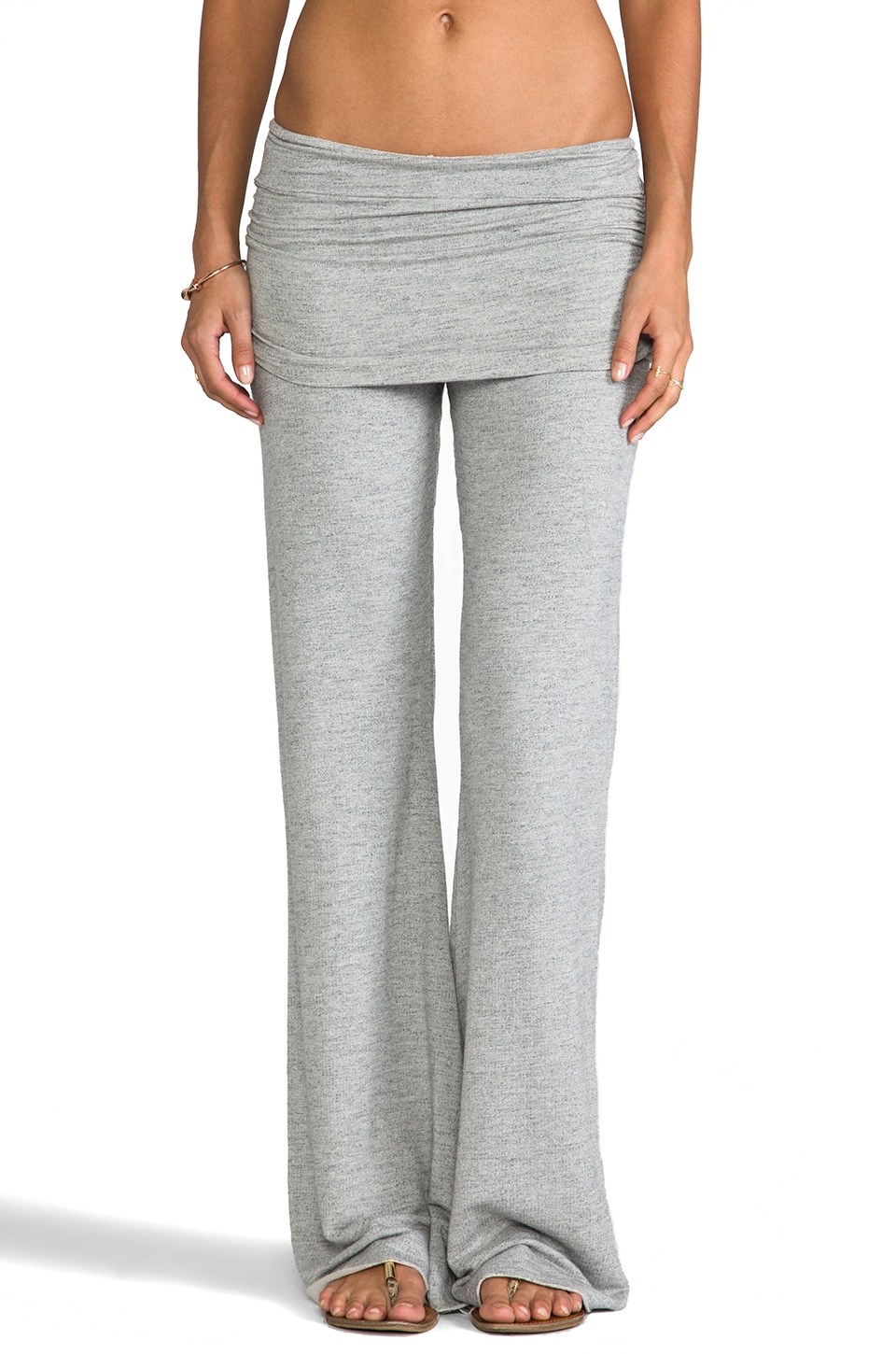 Michael Lauren Costa Bell Pant w/ Fold Over Waistband in Heather Grey