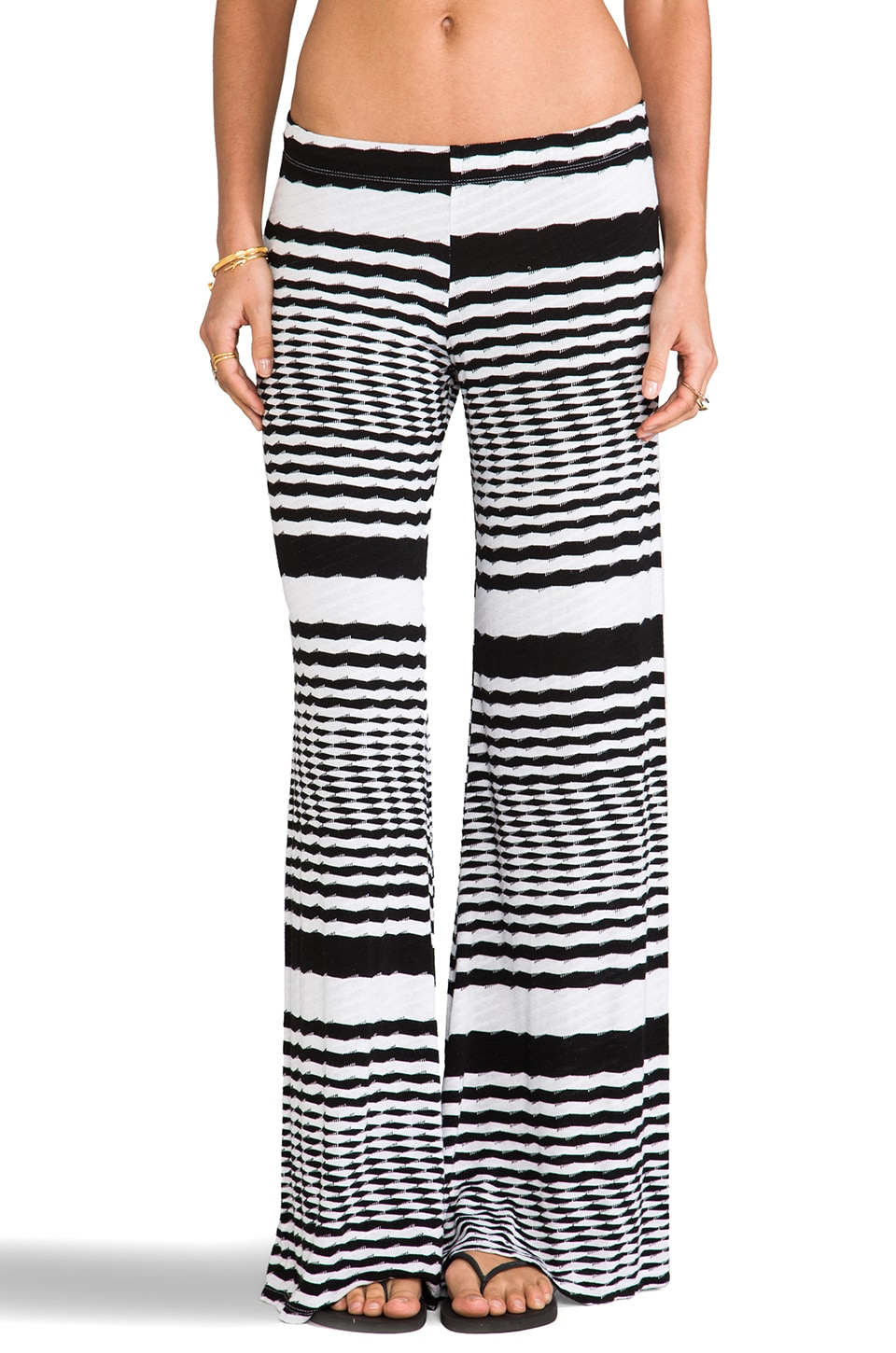 Michael Lauren Cutter Zig Zag Wide Leg Pant in White