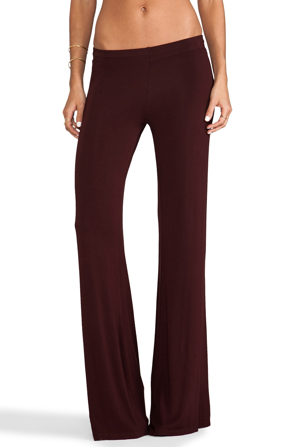 Michael Lauren Derby Wide Leg Pant in Mahogany