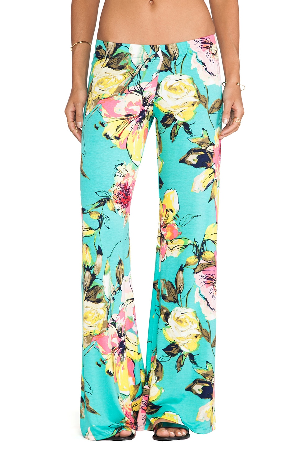 Michael Lauren Derby Wide Leg Pant in Teal Flower