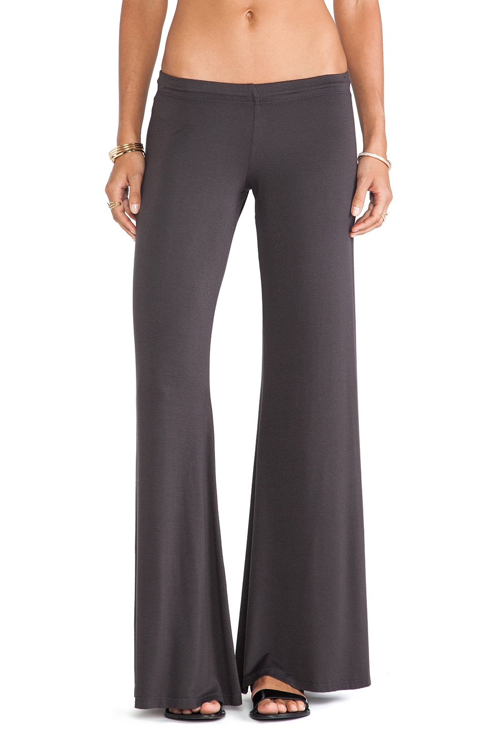 Michael Lauren Derby Wide Leg Pant in Faded Black