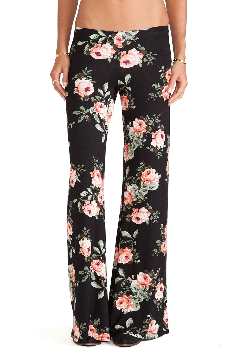 Michael Lauren Derby Wide Leg Pant in Peach Flower