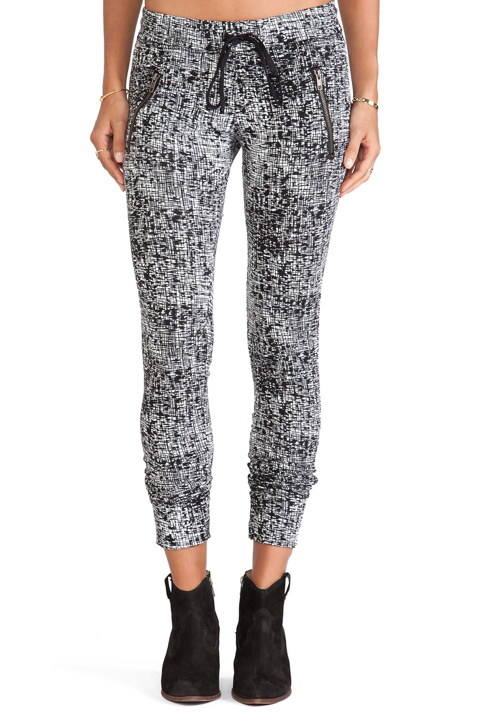 Michael Lauren Joey Skinny Zipper Sweatpant in White