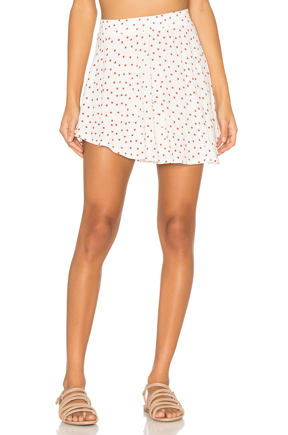 Michael Lauren Citra Flirty Mini Skirt in Red Heart