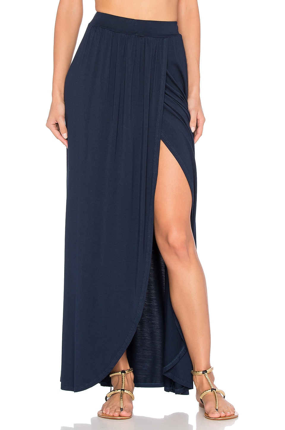Michael Lauren Indy Wrap Maxi Skirt in Navy Storm