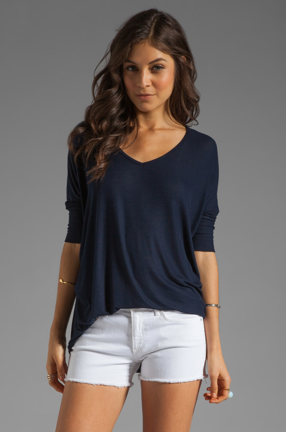 Michael Lauren Dylan 3/4 Sleeve Draped Tee in Navy