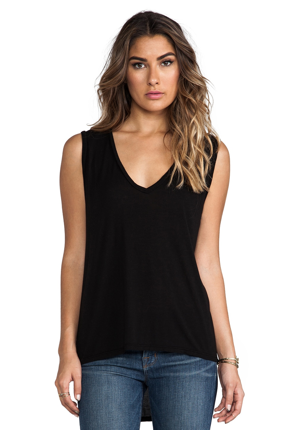 Michael Lauren Harrison Sleeveless V Neck in Black