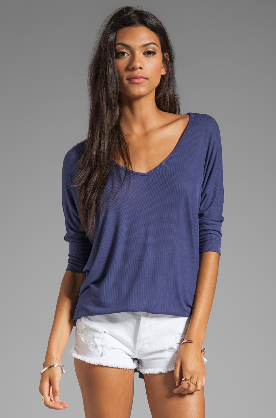 Michael Lauren Dylan 3/4 Sleeve Draped Tee in Bluebell