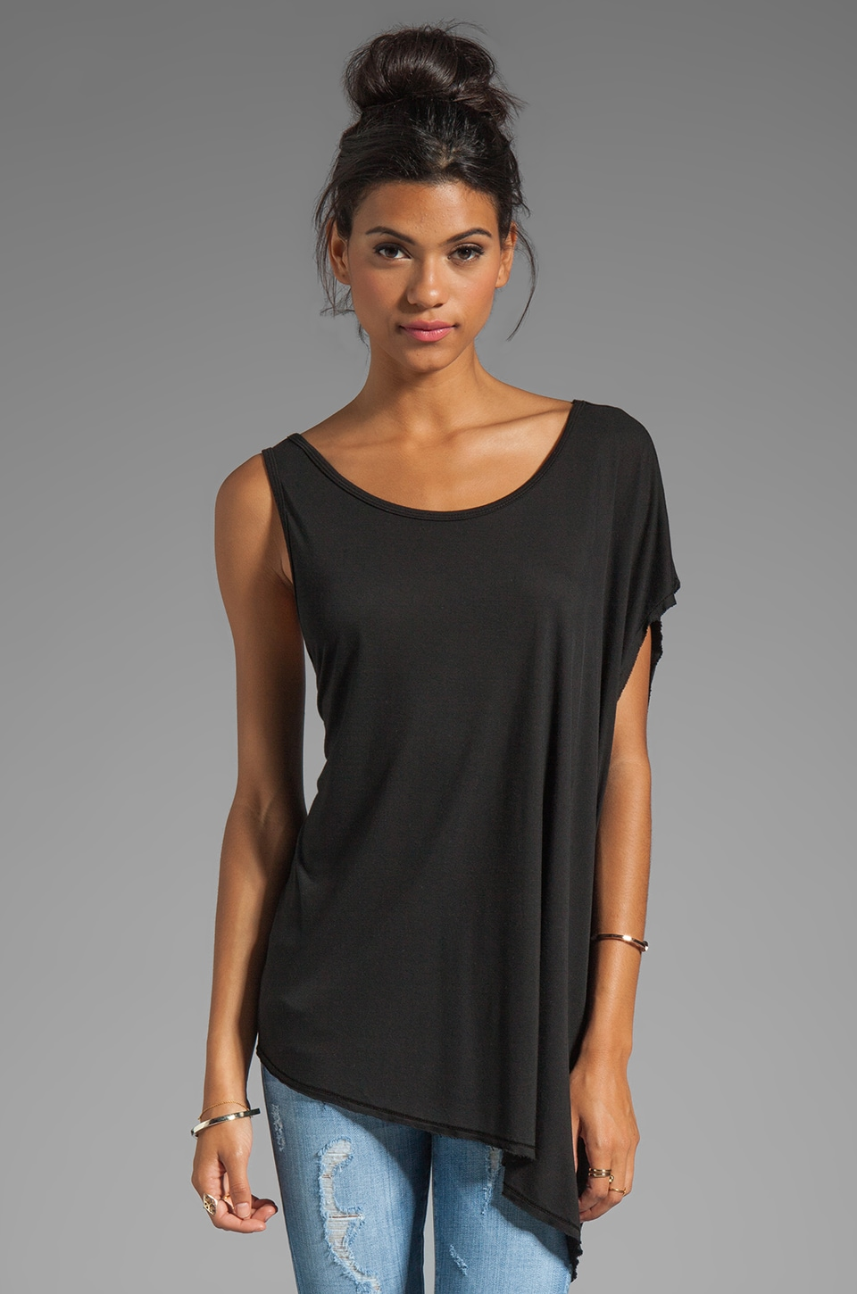 Michael Lauren Asymmetrical Sleeve Top in Black