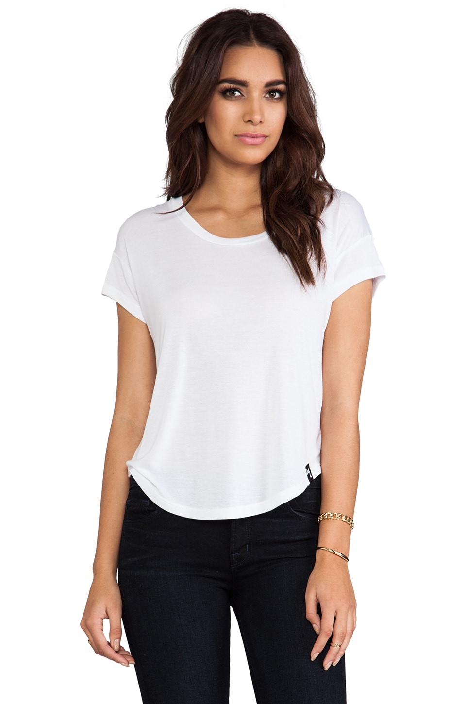Michael Lauren Dale Short Sleeve Scoop Tee in White
