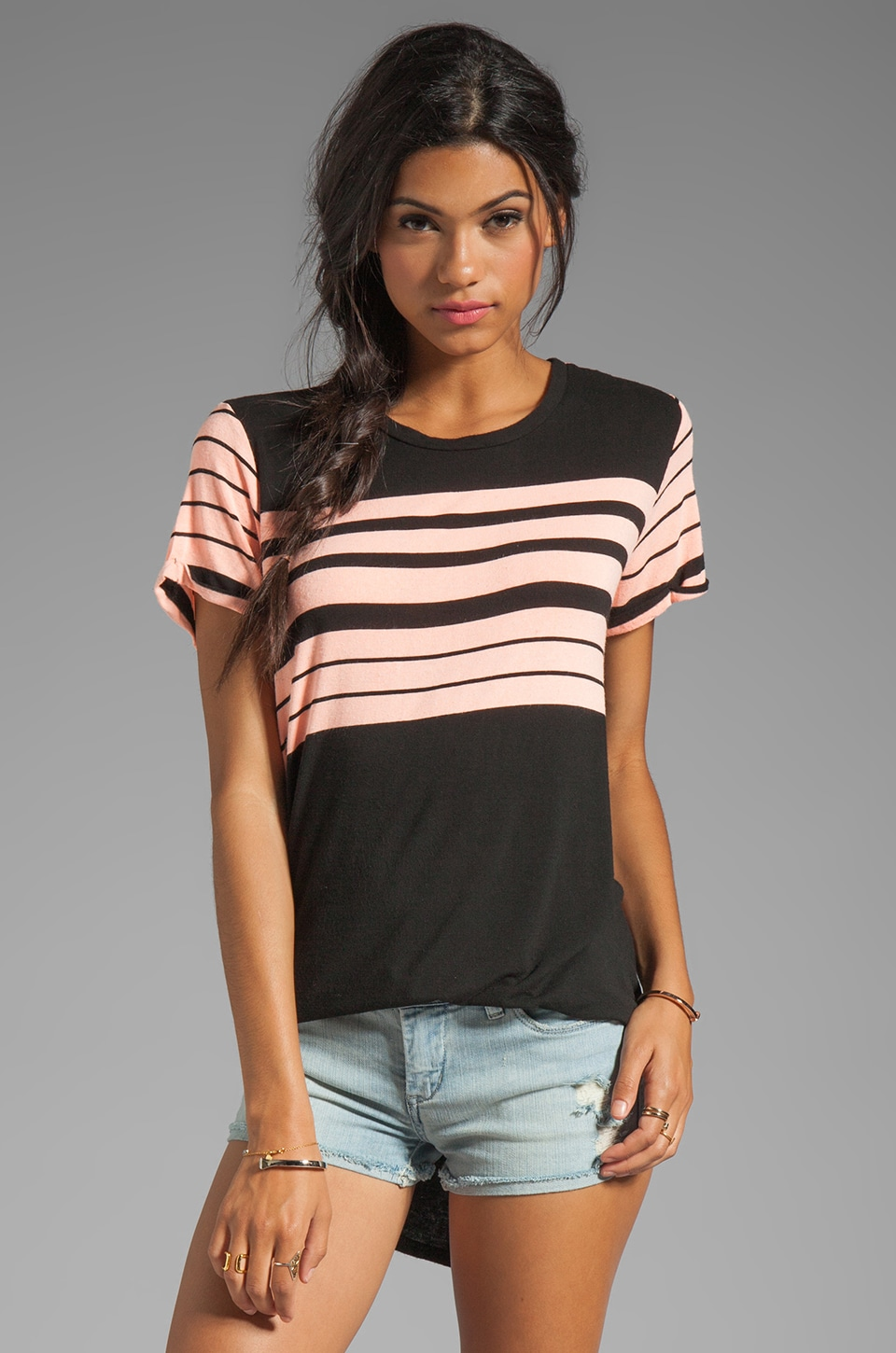 Michael Lauren Hammer Short Sleeve Tee in Citrus Stripe