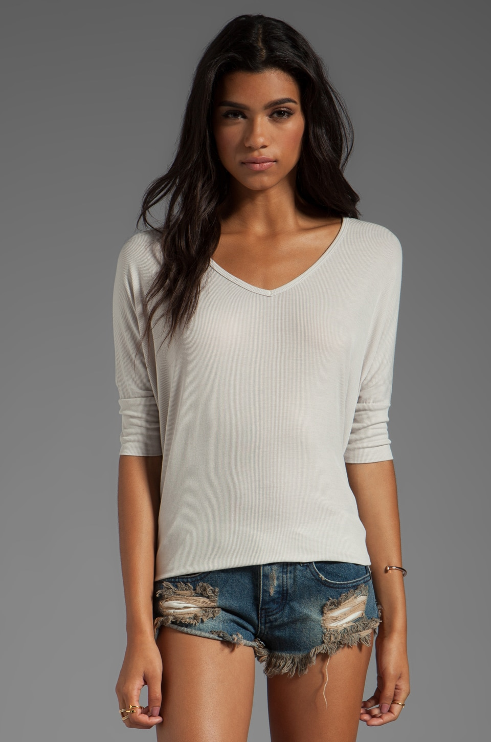Michael Lauren Dylan 3/4 Sleeve Draped Tee in Cloud