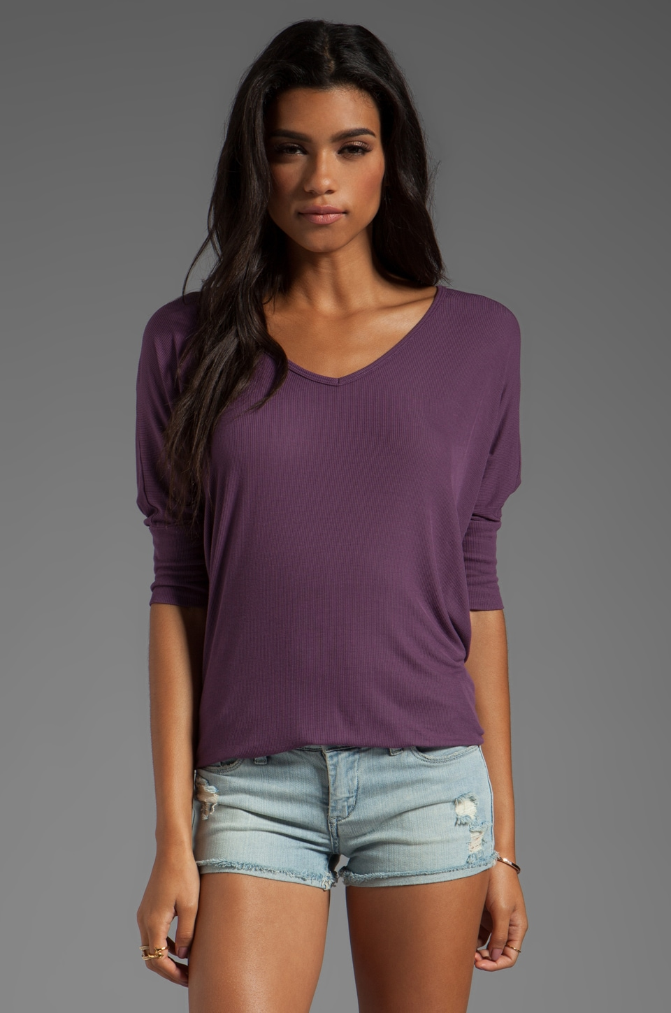 Michael Lauren Dylan 3/4 Sleeve Draped Tee in Grape