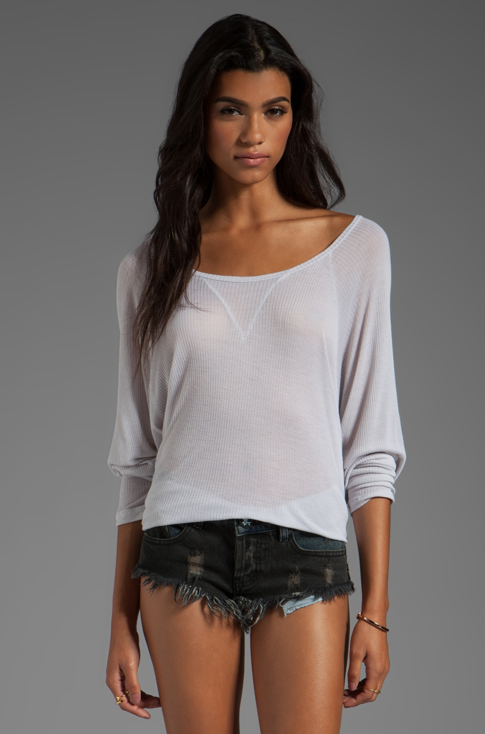 Michael Lauren Gus Ribbed Dolman Tee in Cloud