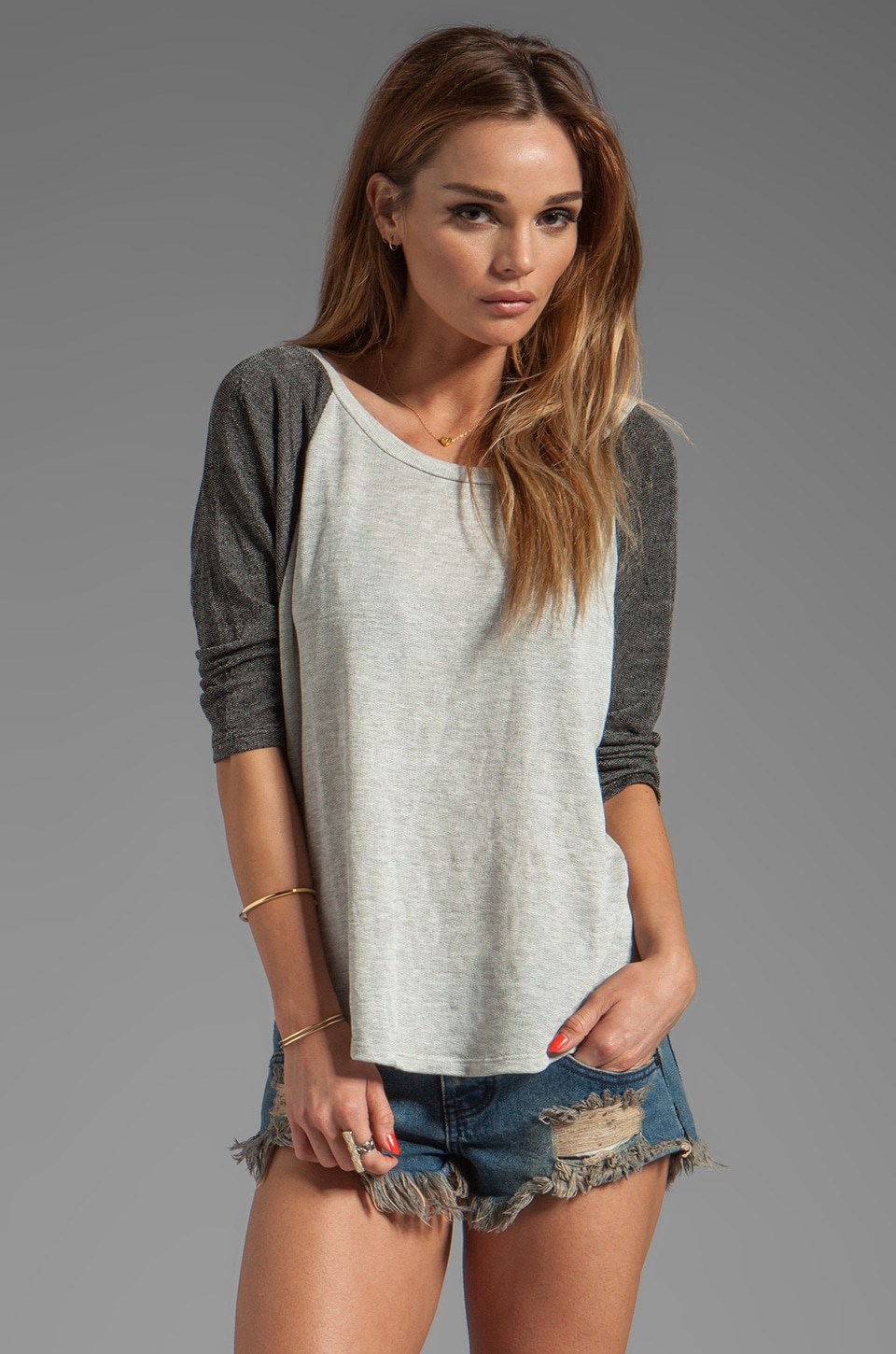 Michael Lauren Herman 3/4 Sleeve Dolman in Heather Grey/Black