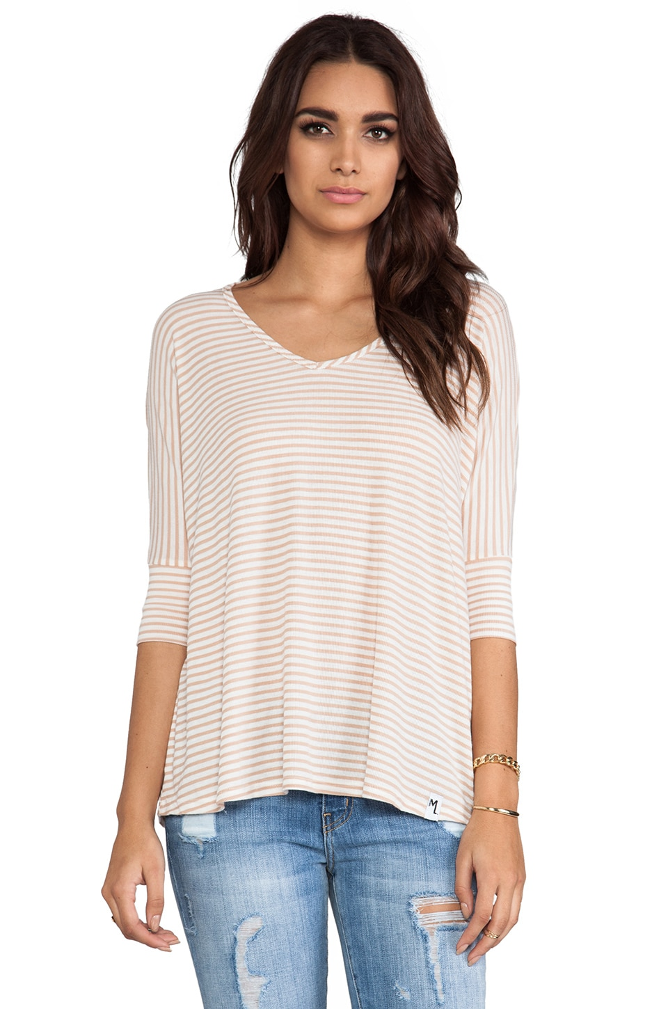 Michael Lauren Dylan 3/4 V-Neck Draper Tee in Buff Stripe
