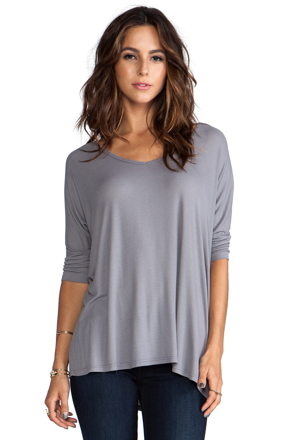 Michael Lauren Dylan 3/4 V-Neck Draped Tee in Grey Moon