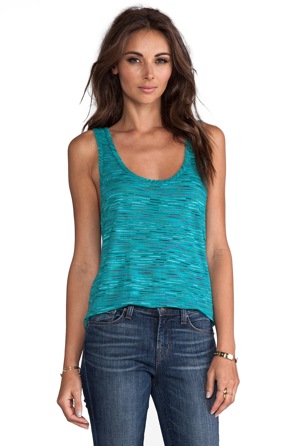Michael Lauren Gibson Reversible Scoop Tank in Emerald