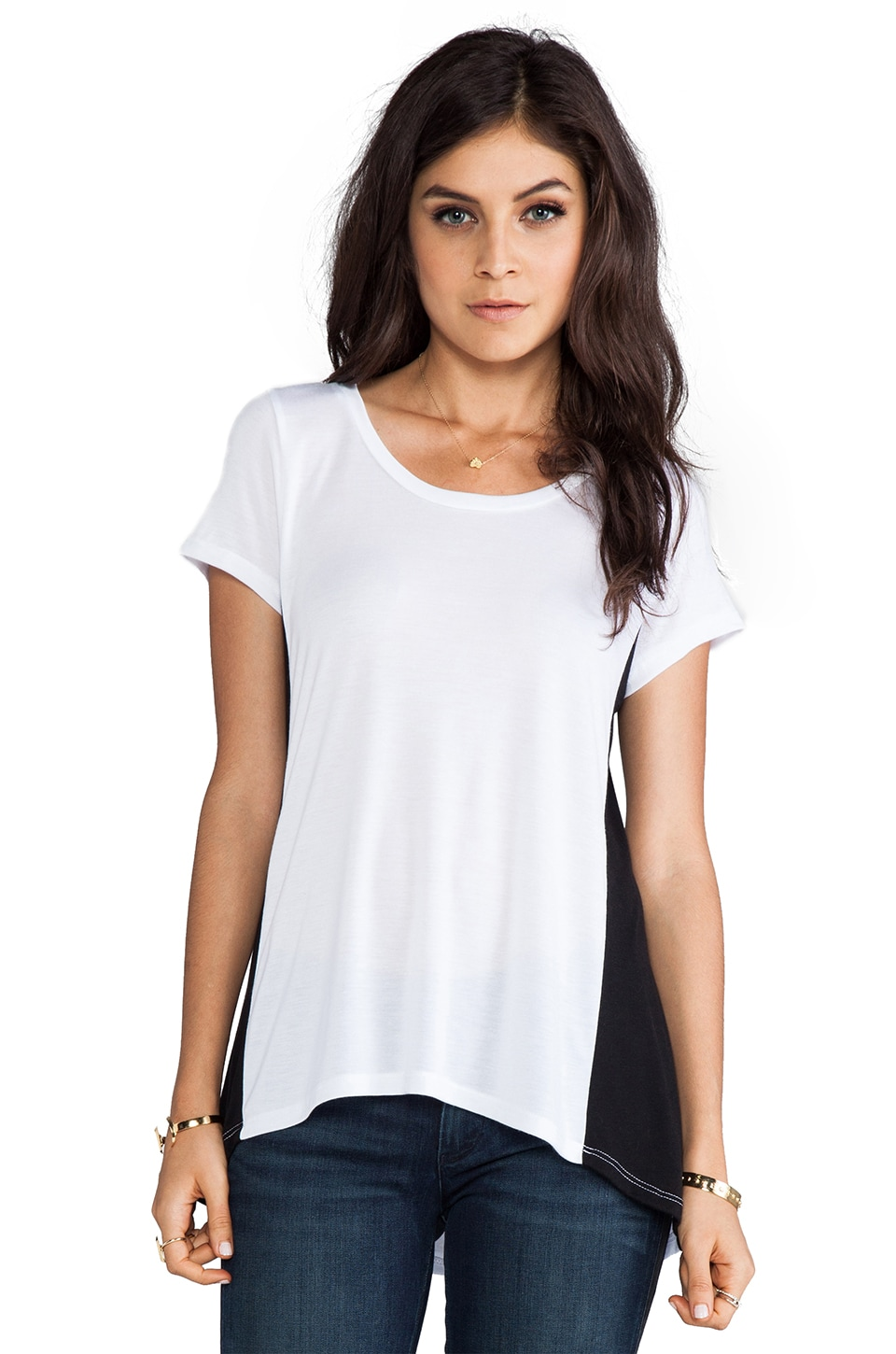 Michael Lauren Justin Short Sleeve Open Back Tee in White/Black