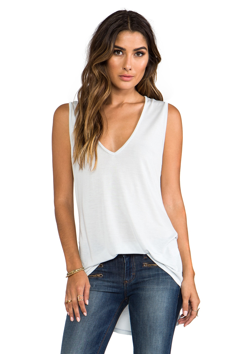 Michael Lauren Harrison Asymmetrical Sleeveless V-Neck in Shark