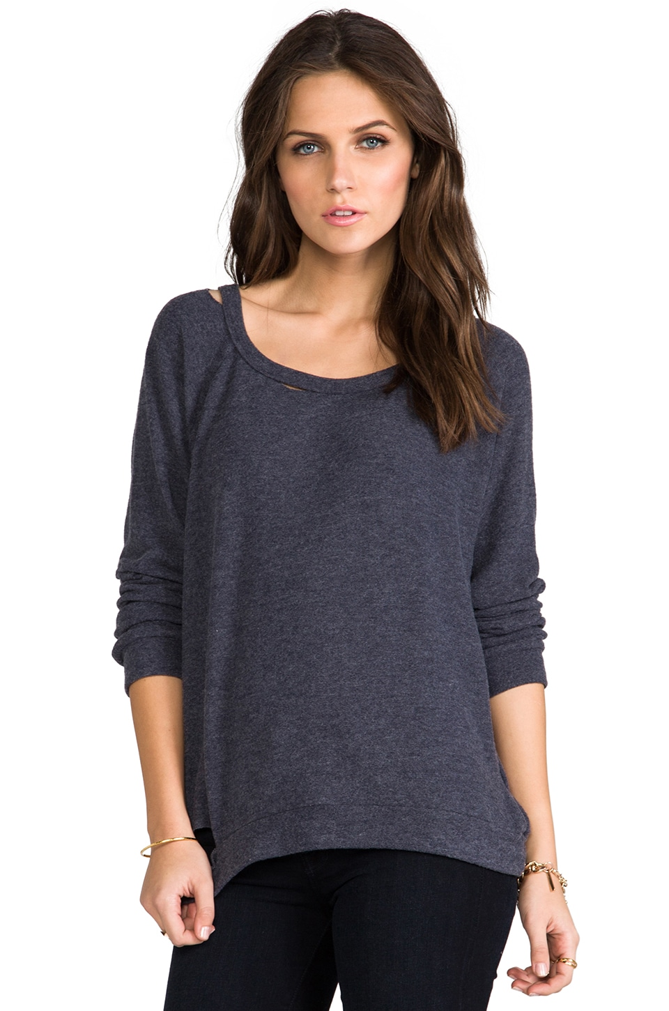 Michael Lauren Russ Pullover Top in Navy