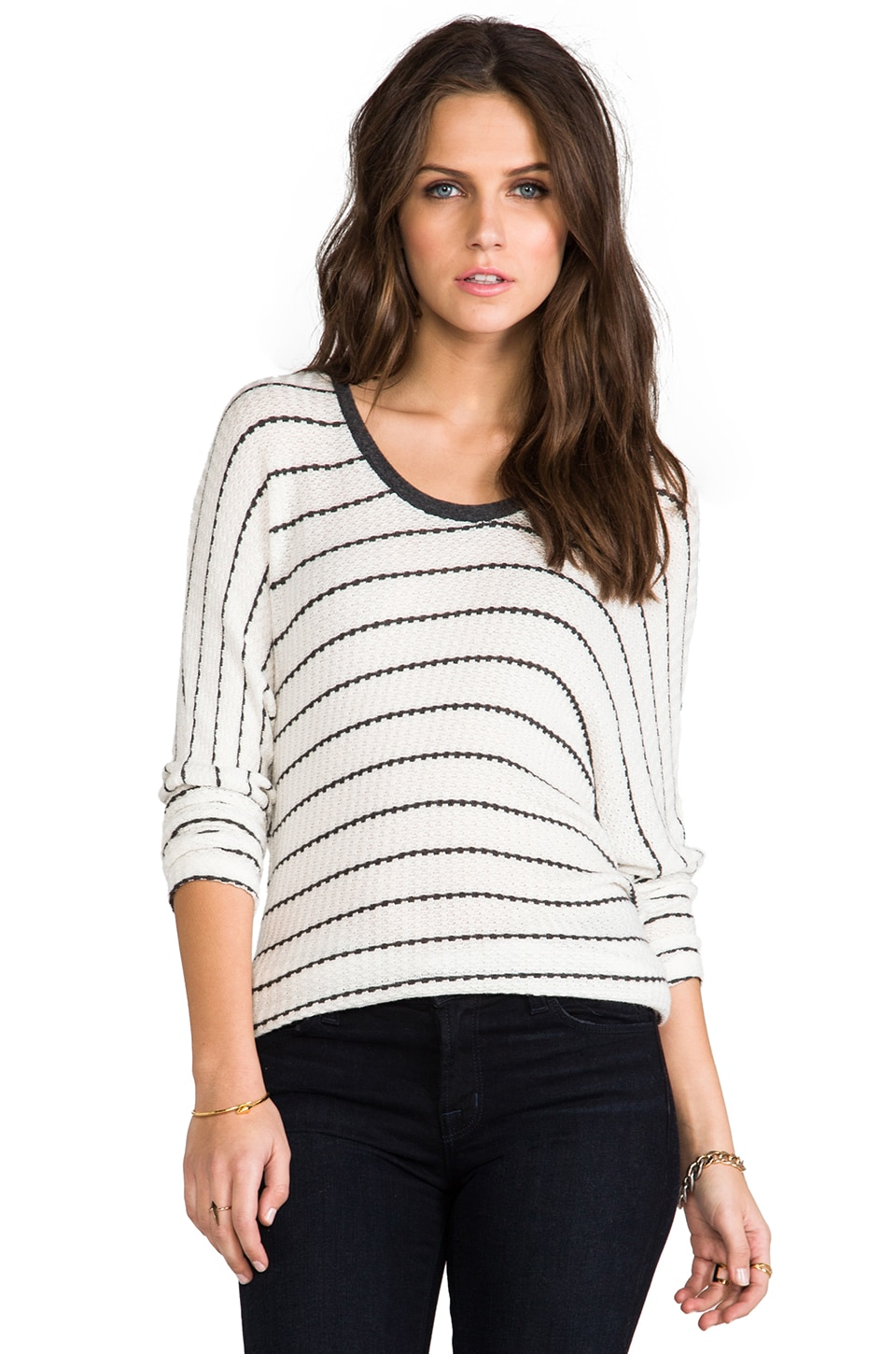 Michael Lauren Dawson Stripe Long Sleeve Top in Natural/Charcoal