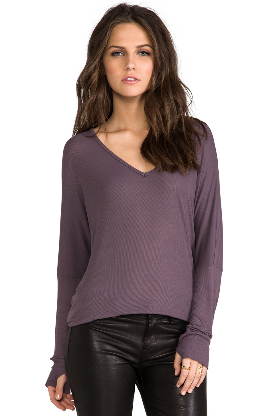 Michael Lauren Hyde Long Sleeve V Neck in Thunder