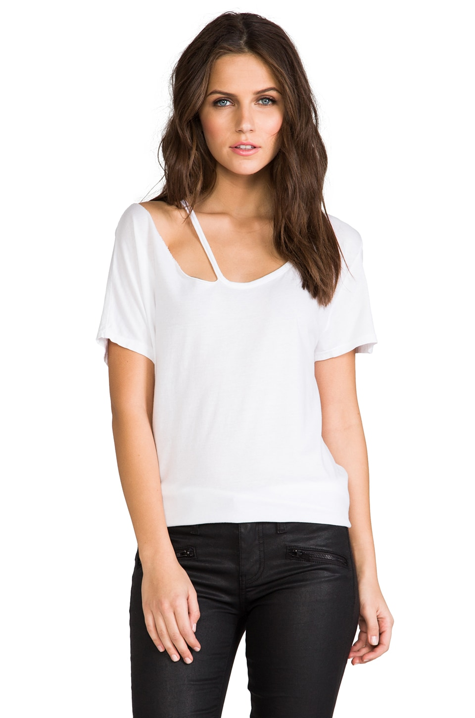 Michael Lauren Jaden Short Sleeve Top in White