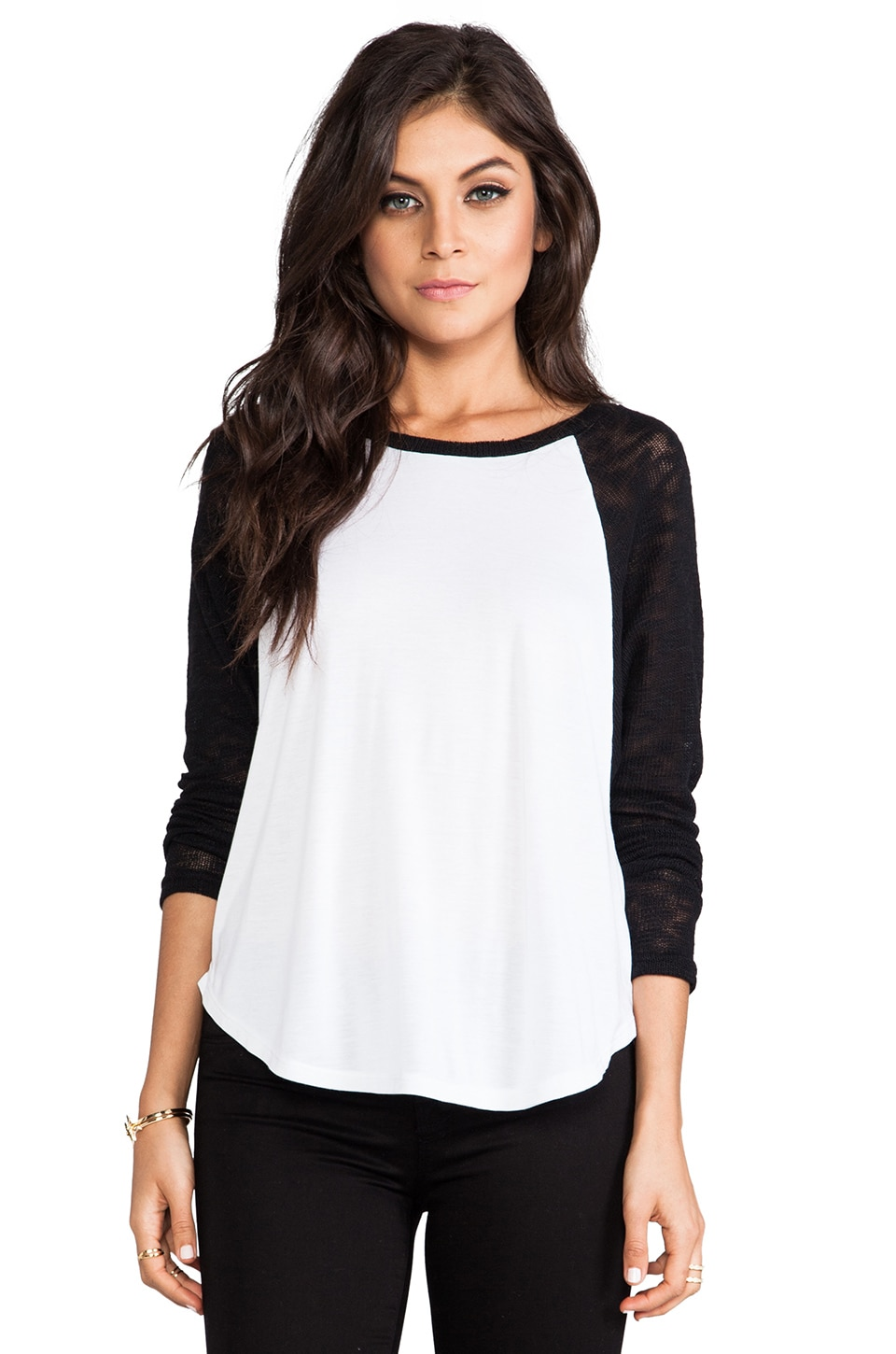 Michael Lauren Rio Raglan Top in White & Black