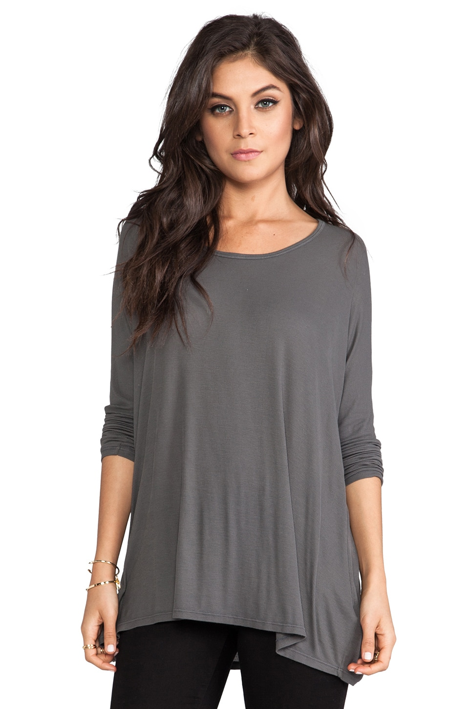 Michael Lauren Hunter Long Sleeve Draped Tee in Asphalt