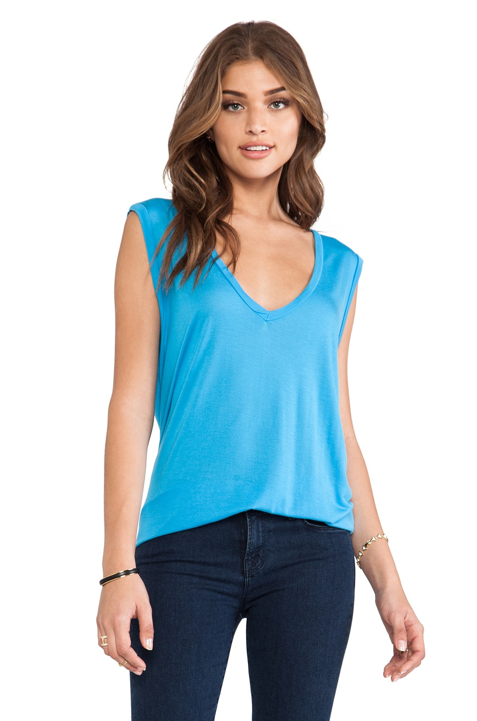 Michael Lauren Jerry V-Neck Sleeveless Tee in River