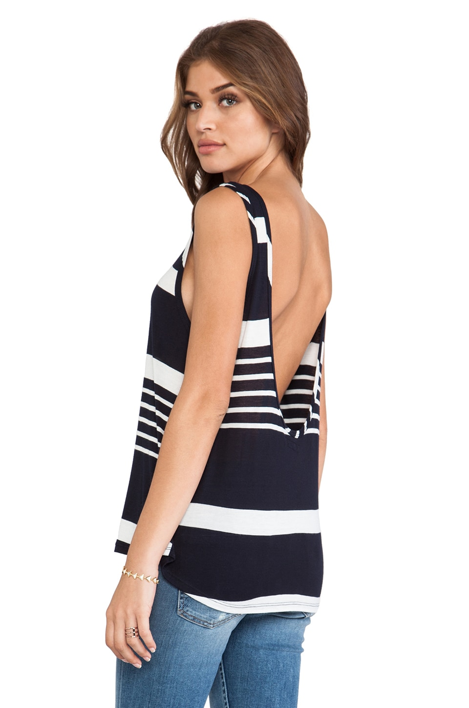 Michael Lauren Rod Low Scoop Back Tank in Navy & White Stripe