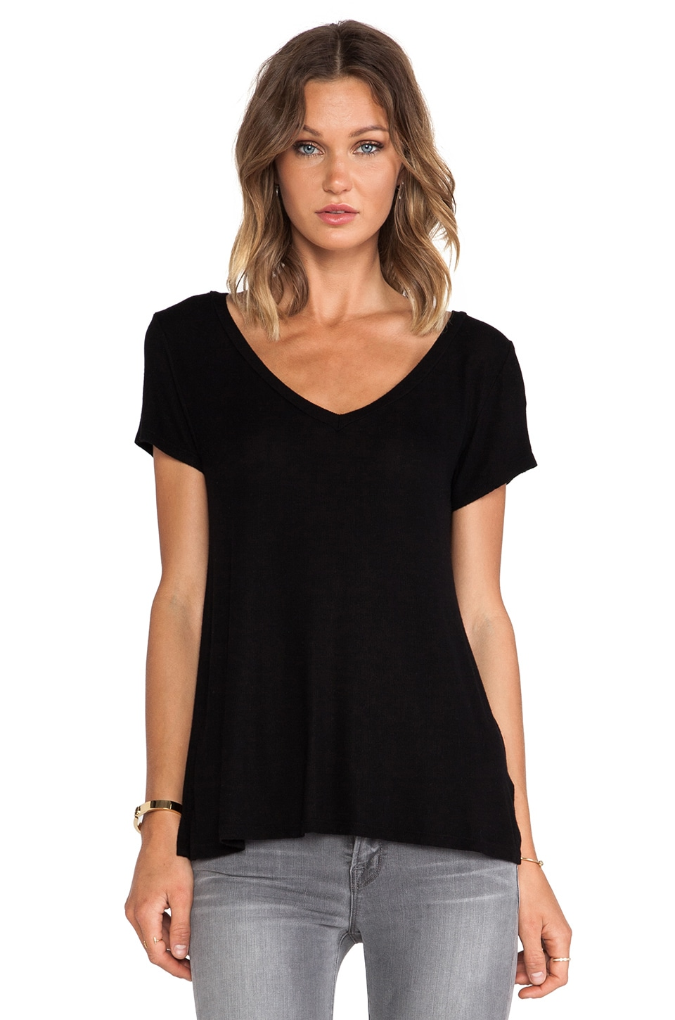 Michael Lauren Newman Short Sleeve Rib V-Neck Tee in Black