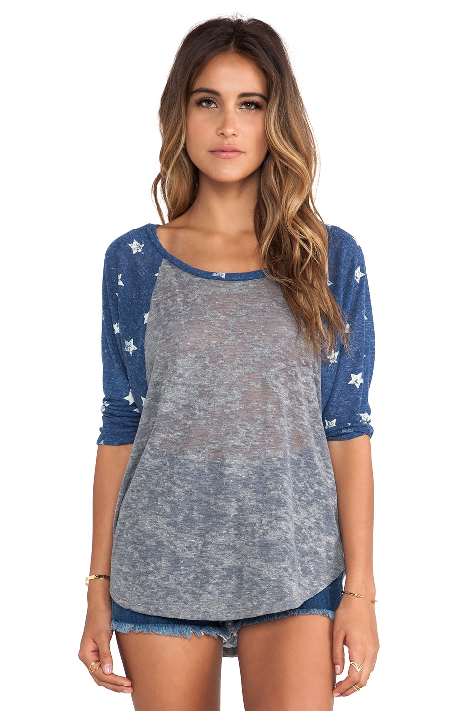Michael Lauren Michael 3/4 Draped Sleeve Raglan in Heather Grey/Vintage Stars