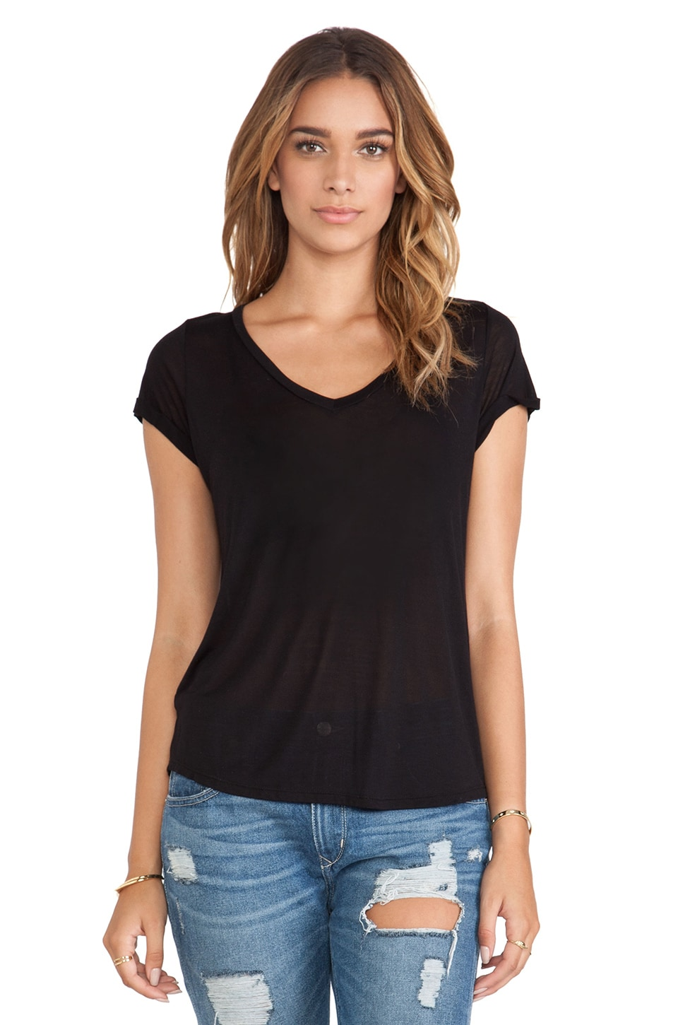 Michael Lauren Conroy V-Neck Roll Up Sleeve Tee in Black