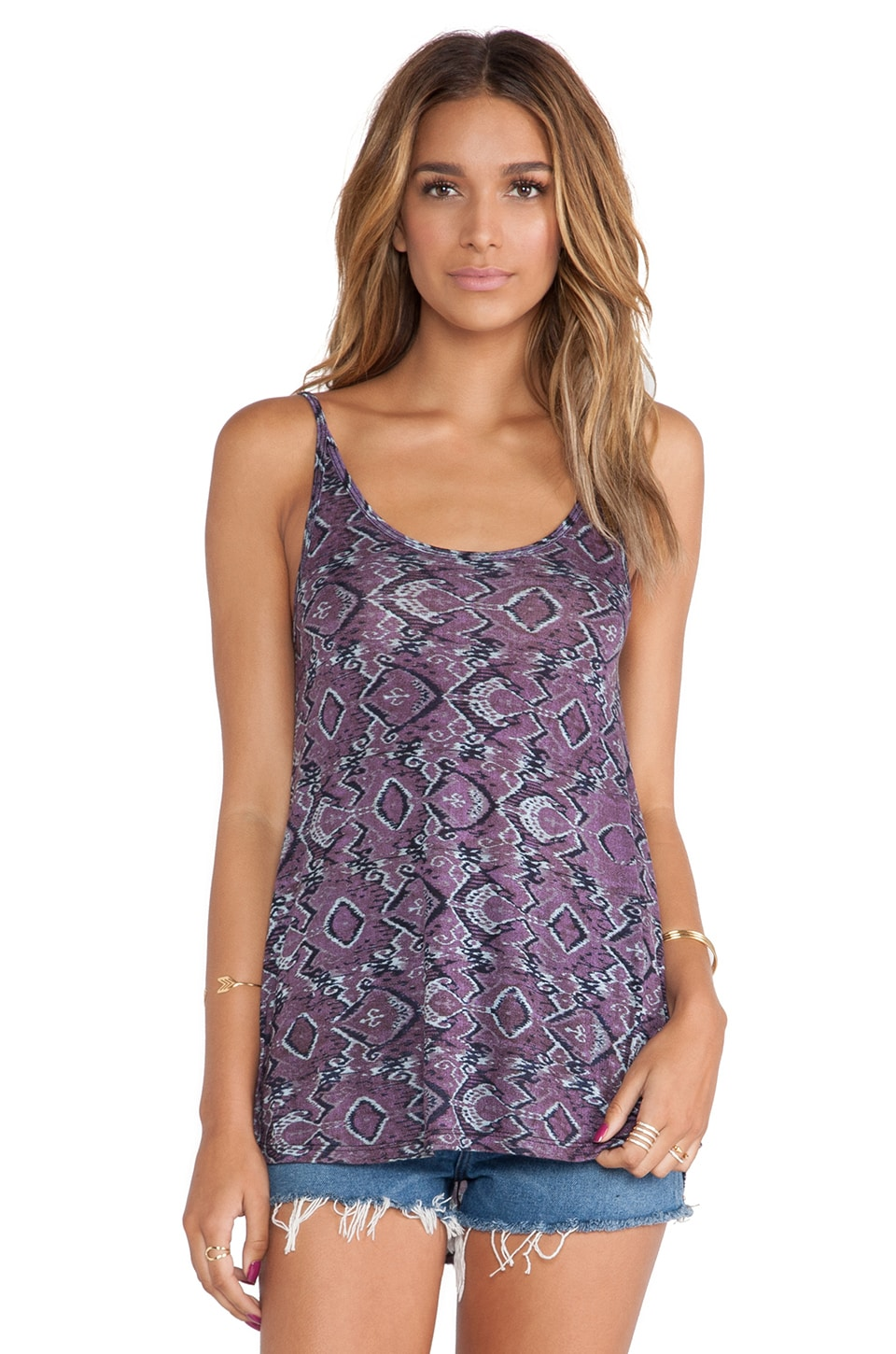 Michael Lauren Fredrick Spaghetti Tank in Purple Haze